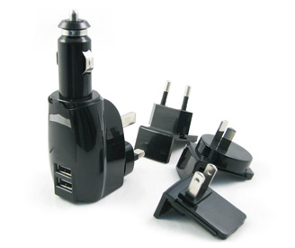 Multi-function chargers (4 plug AC/DC charger ) -EU plug and US plug and AUS plug and UK plug